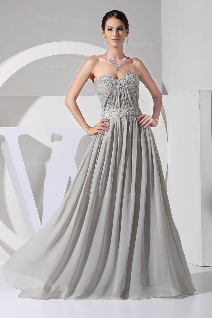 Sweetheart neckline with beading decoration natural waist chiffon dress #debutideas