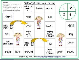 Dipthongs: ou, ow, oi, oy board game