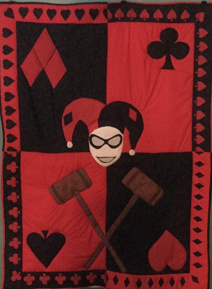 Harley Quinn, Harley Quinn Quilt, Batman Quilt, Joker Quilt by DoorBeeDesigns on Etsy https://www.etsy.com/ca/listing/252057836/harley-quinn-harley-quinn-quilt-batman