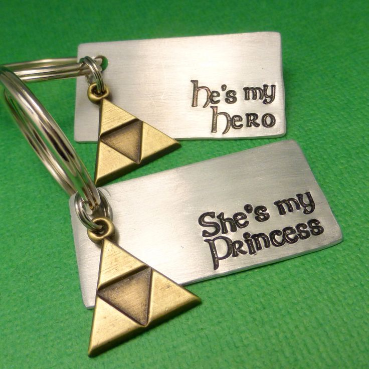 Legend of Zelda Inspired - He's My Hero & She's My Princess - A Set of 2 Hand Stamped Keychains in Aluminum or Copper w/ Triforce Charm by chasingatstarlight on Etsy https://www.etsy.com/listing/202215387/legend-of-zelda-inspired-hes-my-hero