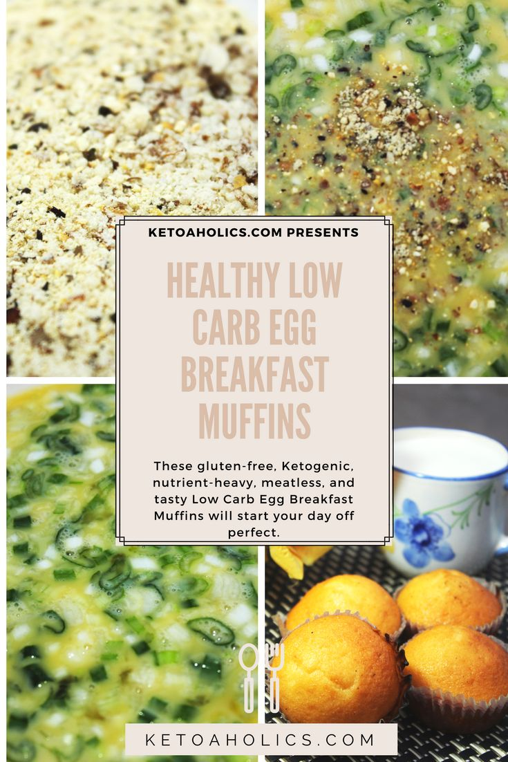 These gluten-free, Ketogenic, nutrient-heavy, meatless, and tasty Low Carb Egg Breakfast Muffins will start your day off perfect. With unconventional ingredients like almond flour, hemp seeds, flaxseed flour, and nutritional yeast (in addition to eggs, cottage, Parmesan, and green onions) many of you're going to be dubious of this mix. But I guarantee these breakfast muffins are also tasty.