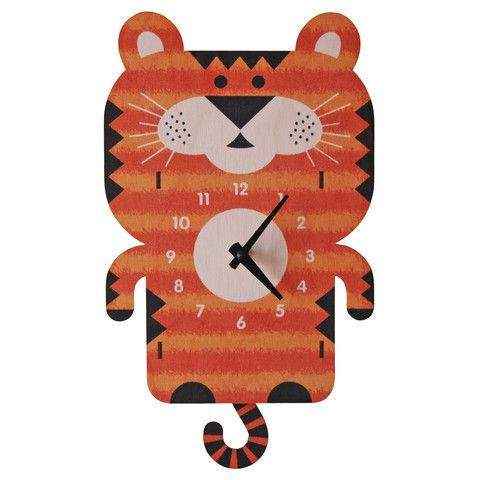 Tiger Pendulum Clock,This Wall Clock Is Hand Designed And Made In The USA  From Laser Cut Birch Plywood And Non Toxic Water Based Inks. No Assembly  Required.