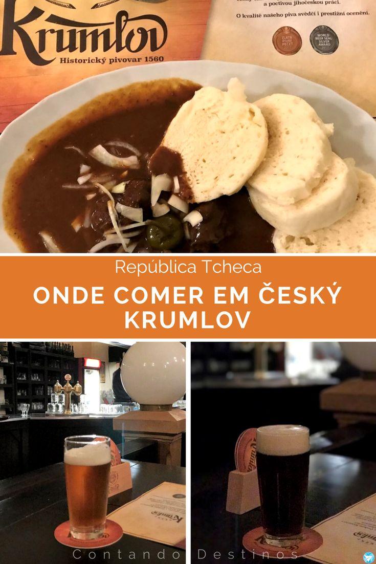 Dica de onde comer em Český Krumlov na República Tcheca. Dica de comida típica tcheca e uma boa cerveja tcheca em Český Krumlov.