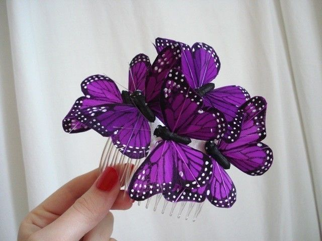 purple butterflies hair comb, bridal butterfly hair accessory - CAST SHADOWS - whimsical woodland headpiece. $40.00, via Etsy.