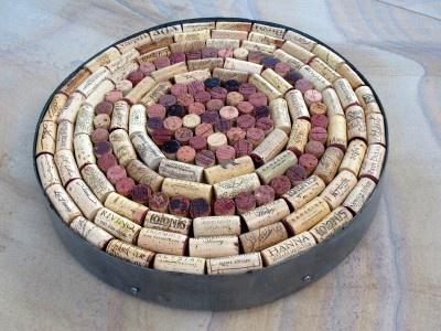 Recycled Cork Lazy Susan  by:-Bobsbarrelart