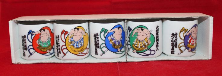 Japan Sumo Wrestlers Yokozuna DohyoIri Set of 5 Small Sake Ochoko Cups Souvenir