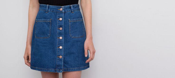 jupe jean boutons devant jupes femme pull bear france clothes i want pinterest. Black Bedroom Furniture Sets. Home Design Ideas
