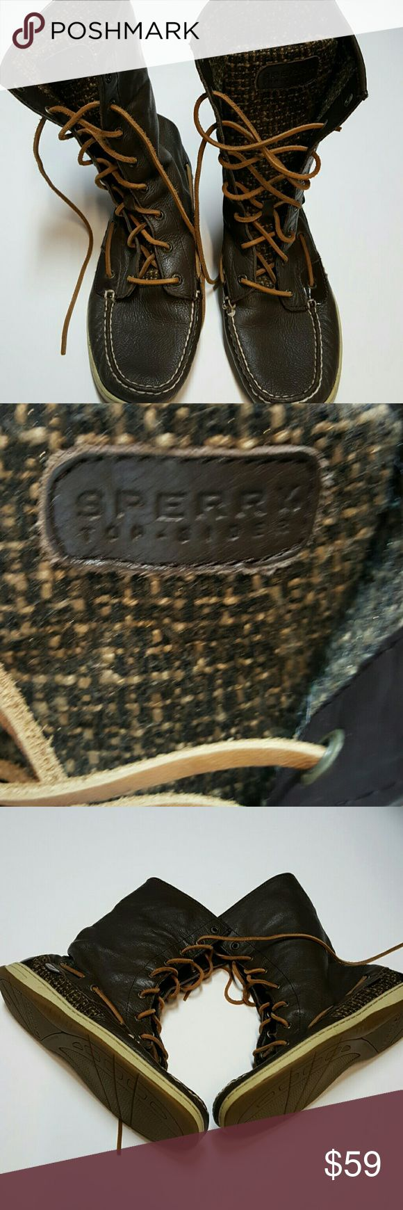 Sperry Top Sider Boots Brown Womens 10M Rare and well kept Sperry Top Sider Dark Chocolate Brown Boots. Very Comfortable and in Excellent Condition. Size 10M Sperry Shoes Lace Up Boots
