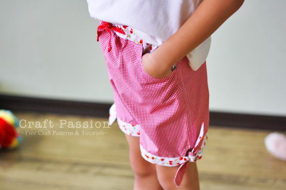 süße Mädchen Short - Sew Girl Shorts With Tie-Hem / Toddler shorts (3 years old), Kid shorts (7 years old)