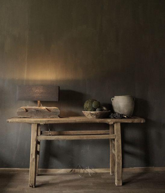 Stoer Oude houten Sidetable