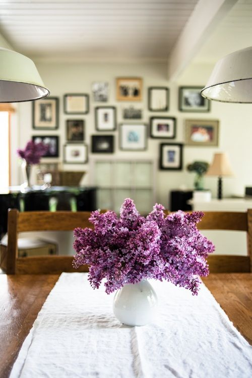 aww: Home Tours, Purple Flowers, Galleries Wall, Kimberly Taylors, Photo Wall, Fresh Flowers, Pictures Frames, Lilacs Flowers, Kid