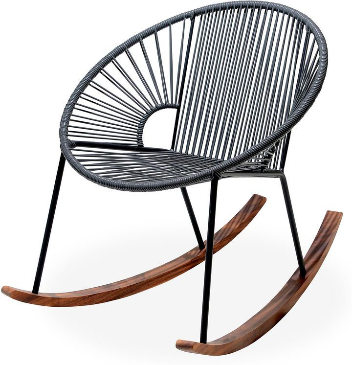 Carefully handcrafted by skilled artisans and certified welders in Mexico, this modern rocking chair is crafted of woven UV-protected PVC cord with a powder-coated steel frame and wooden legs. While it's designed for use on the porch or patio, a sleek silhouette and impressive durability also make it a great choice for an indoor sunroom or even a playroom. Furniture > Outdoor Furniture > Outdoor Rocking Chairs.