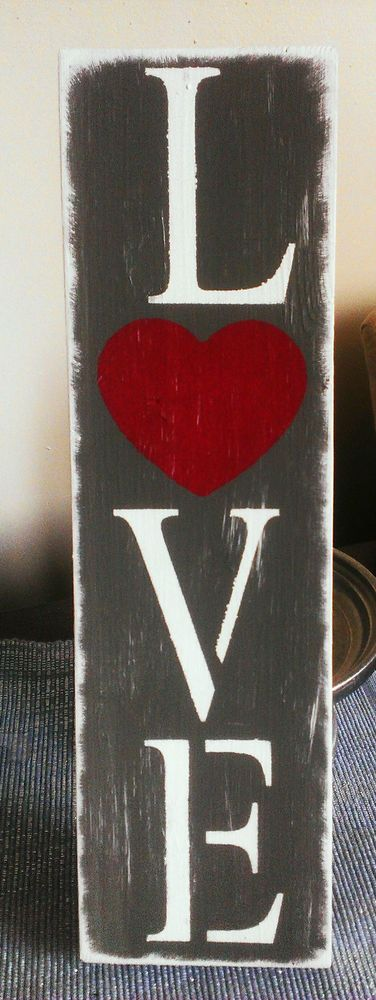 "PRIMITIVE FARMHOUSE SHABBY WOOD ""LOVE"" SIGN VALENTINES DAY WEDDING PHOTO PROP in Antiques, Primitives 