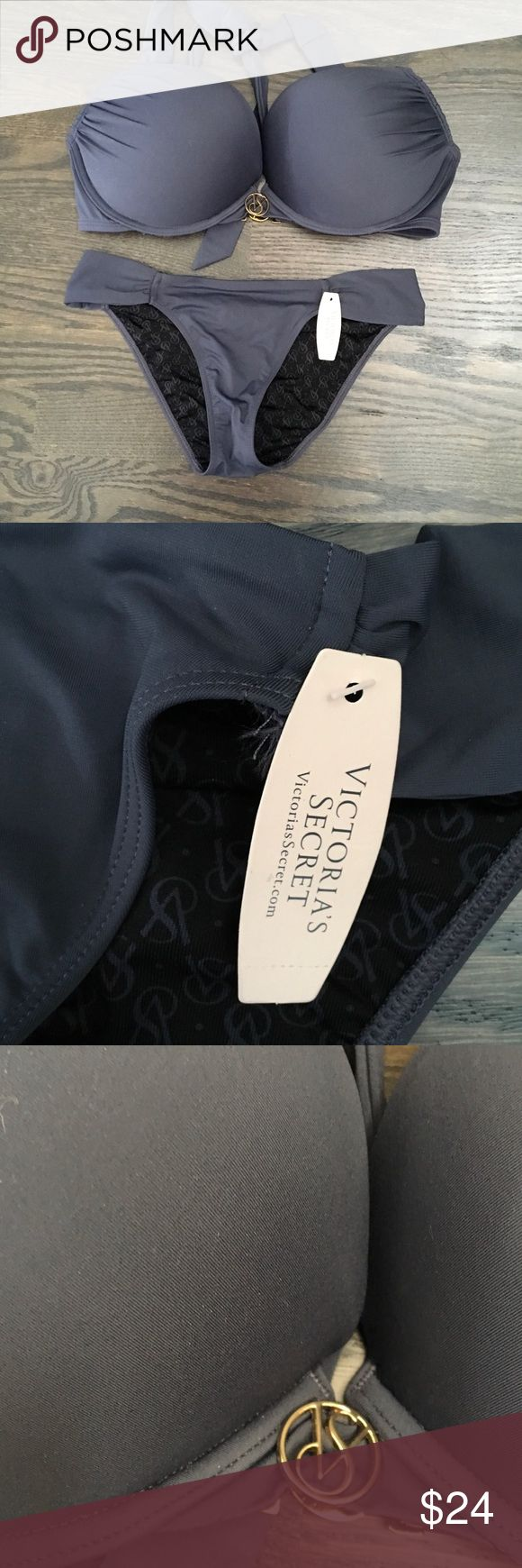 Victoria's Secret Swimsuit NWT Gray Swimsuit by Victoria's Secret. Bottoms are size extra small and top is a 34D Victoria's Secret Swim Bikinis
