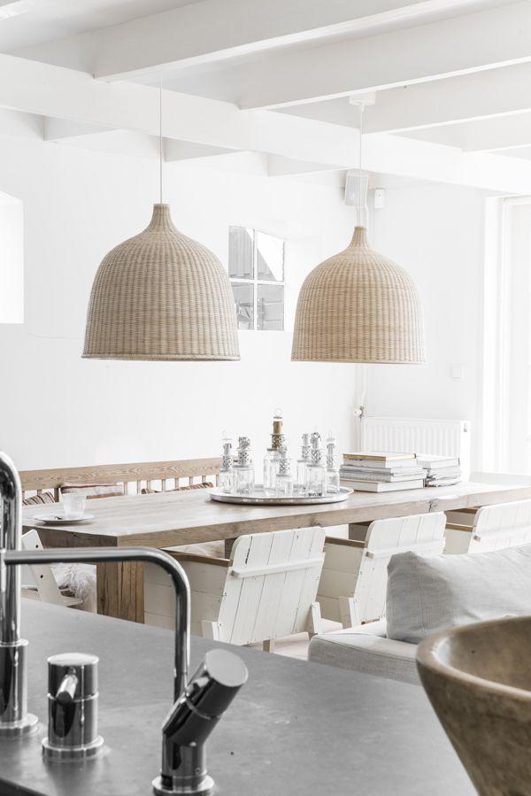 Wooden bench | LERAN pendant lamps