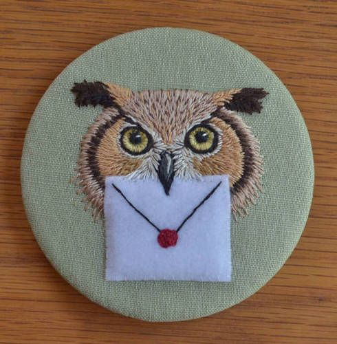 Owl Post - NEEDLEWORK - would be great to make an envelope that opens to put notes in