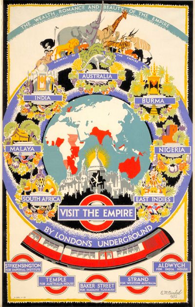 Visit the Empire Ernest Michael Dinkel, 1933 This poster encouraged Underground passengers to visit 'the wealth, romance and beauty' of the British Empire. It recommends The Zoo, Kew Gardens and museums as destinations in London to explore the riches of Britain's distant colonies.