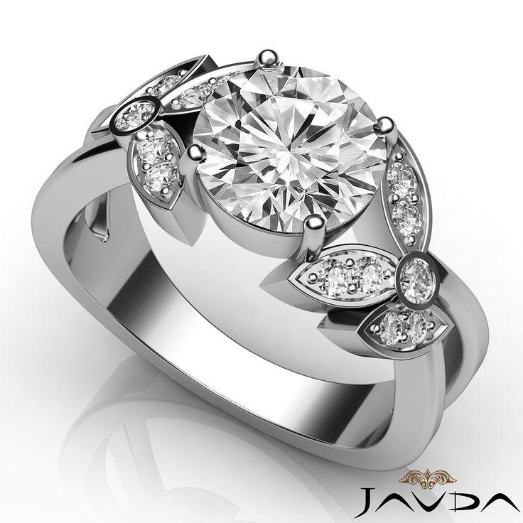 Round Diamond Flower Style Pave Bezel Engagement Ring GIA H SI1 Platinum 1 3ct | eBay