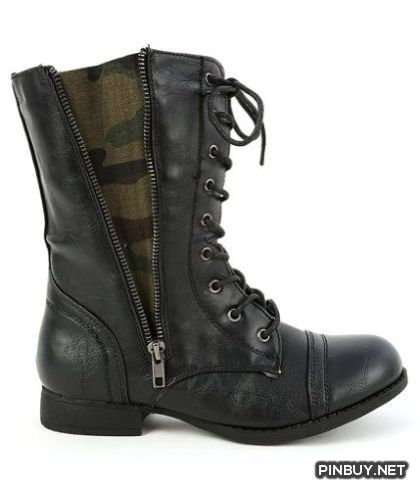 Lace up Zipper Camouflage Insert Combat Womens Military Boots Black Fourever Funky - PinBuy