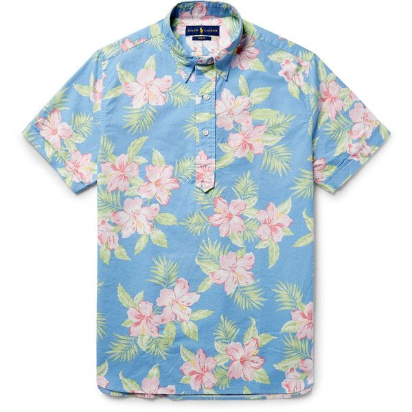 Polo Ralph Lauren Button-Down Collar Floral-Print Cotton Oxford Shirt ($135) ❤ liked on Polyvore featuring men's fashion, men's clothing, men's shirts, men's casual shirts, mens patterned shirts, mens fitted shirts, mens floral print shirts and mens floral shirts