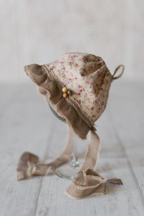 THOMASINA Floral Newborn Fabric Bonnet. Vintage by justjosie