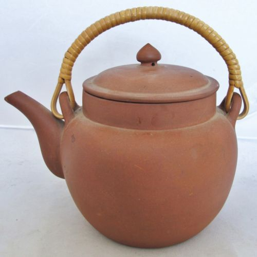 Vintage Chinese YIXING Red Clay Teapot w/ Infuser, Bamboo ...