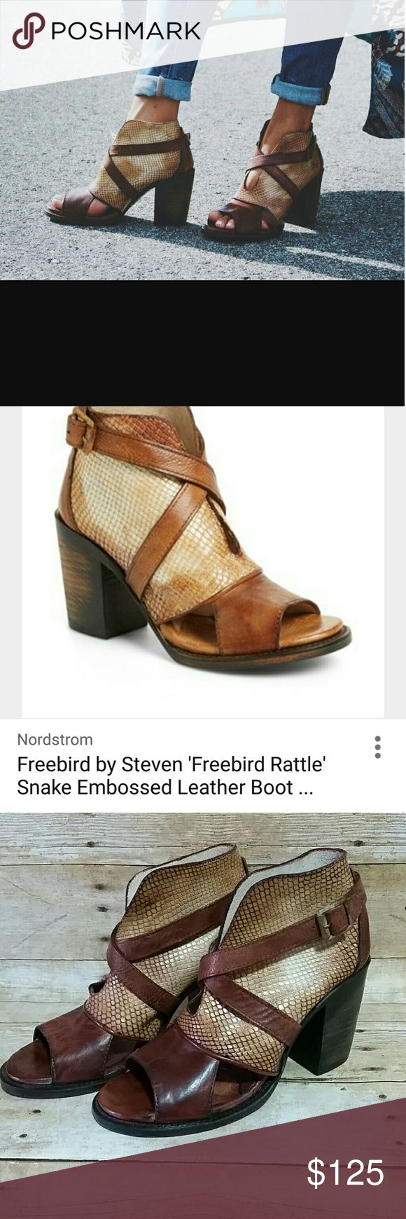 Freebird by Steven Freebird by Steven Rattles Snake Embossed Peep Toe Booties Leather upper, lining and sole. Made in Mexico.  3 1/4 heel. Has 1 small scuff on strap. Plz see pics. Freebird by Steven Shoes