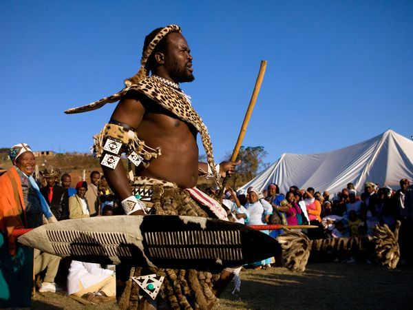 Zulu dancer during a marriage ceremony in a village north of Durban South Africa