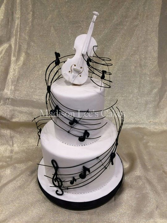 Music Theme Bat Mitzvah Cake with Classic Violin by Madison Lee's Cakes - mazelmoments.com