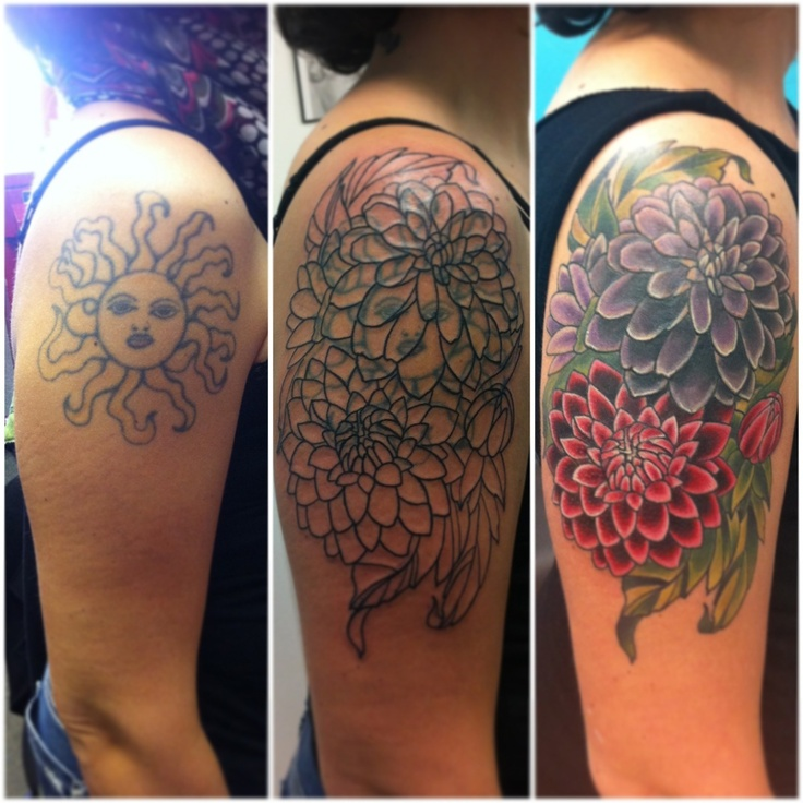 Vintage flowers tattoo (cover up)