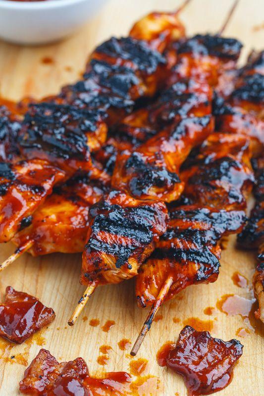Bacon BBQ Chicken Skewers
