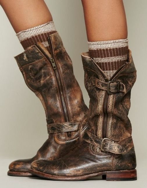 "Free People Cafe Racer ""GoGo"" Boot Bed Stu Teak Lux Color Vintage Destroyed  