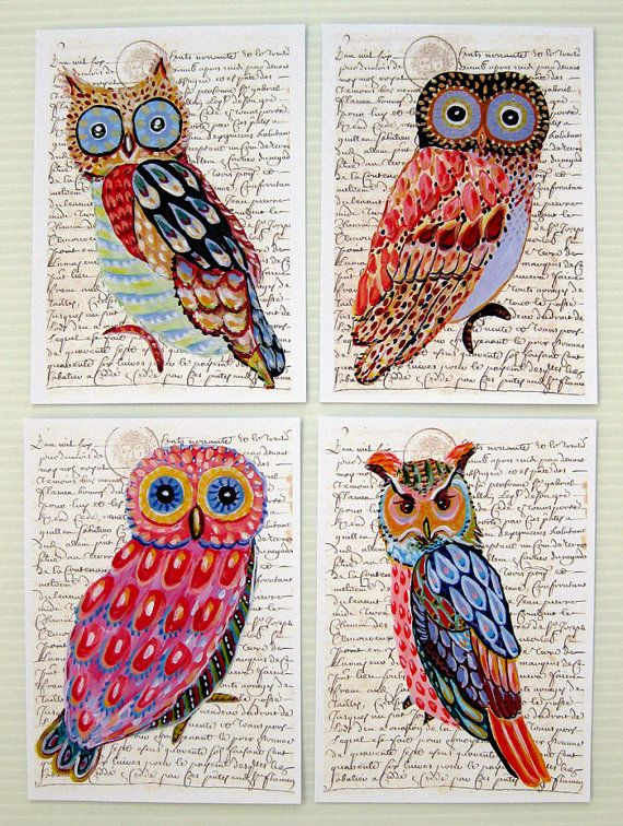 Whimsical Owls four prints of an original paintings 8 by irinashop