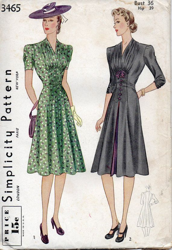 simplicity 3465 1940s misses afternoon dress pattern v