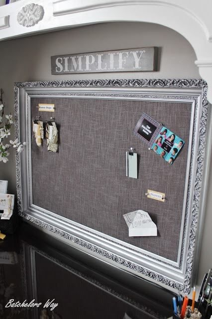 Pin board made using a picture frame and curtain ~    How to: http://www.batchelorsway.com/2013/02/office-redo-pin-board-of-dreams.html