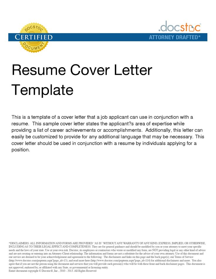 format of cover letter with resume