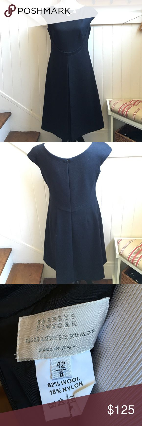 "⚜SALE⚜Barneys New York Black Wool Dress Excellent condition gorgeous wool blend dress. Measures 40"" from shoulder to hem. Beautiful sleek detailing at the bust and and pleat in the front. Classic piece to add to your collection Barneys New York CO-OP Dresses"