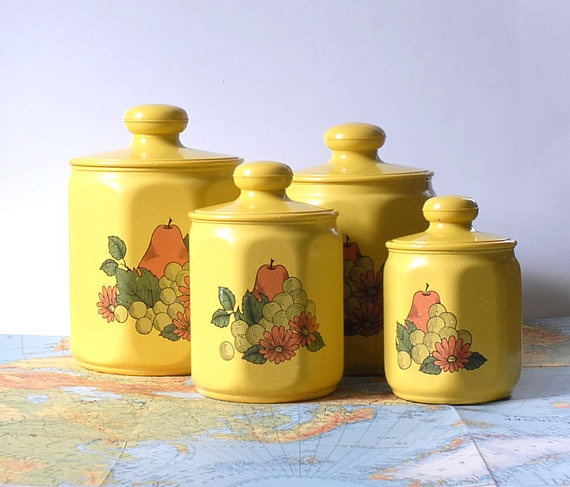 vintage kromex yellow kitchen canister set of four fruit
