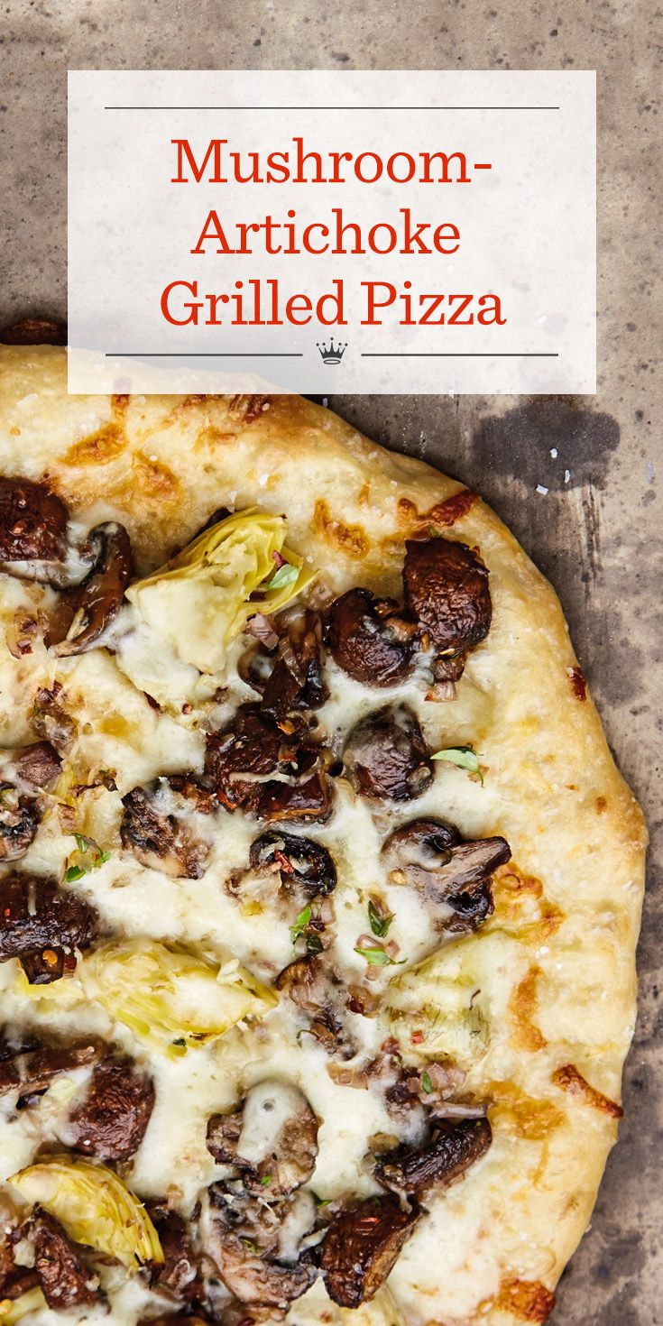 Mushroom-Artichoke Grilled Pizza Recipe | Looking for a homemade pizza recipe? Try pizza on the grill! Our grilled veggie pizza features sauteed mushrooms and artichoke hearts on a homemade crust.