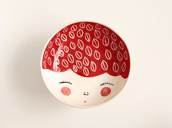 Red ceramic serving bowl with character face by MarinskiHandmades, $35.00