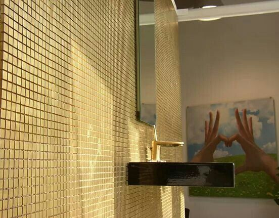 Mosaico in Ceramica colore Oro