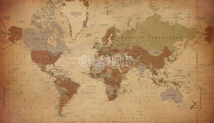 Poster: Antique World Map - english online te koop. Bestel je poster, je 3d filmposter of soortgelijk product Canvas 78x135