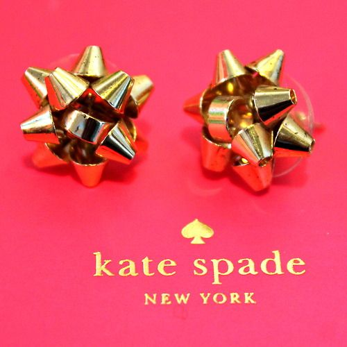Kate Spade Holiday Bow Earrings in Gold