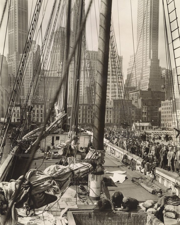 Theoline, Pier 11, East River, Manhattan by Berenice Abbot