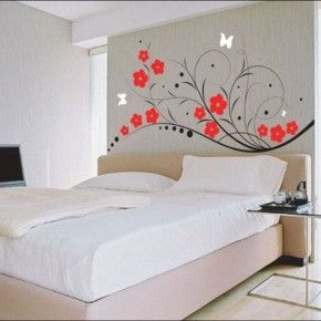 Bedroom Interior. Minimalist Small Master Bedroom Ideas With Floral Wall Decal On Grey Wall Painted Also Master Platform Bed Sheet As Well As Modern Bedside Tables As Simple Bedroom Furniture Plans: Minimalist Small Master Bedroom Ideas With Floral Wall Decal On Grey Wall Painted Also Master Platform Bed Sheet As Well As Modern Bedside Tables As Simple Bedroom Furniture Plans