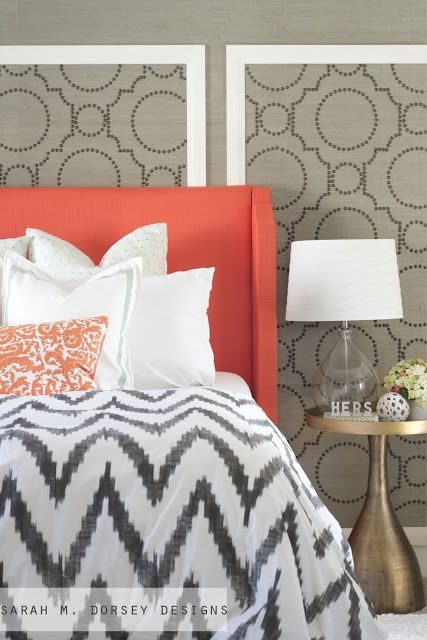 Gorgeous feature wall with grasscloth and nailheads - amazing.