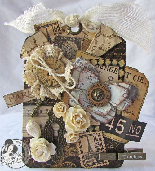 This tag by @Gloria Stengel is quite amazing! Her layering is breathtaking. She used the Regular Tag from new Tag Album Staples to make this beauty. Absolutely gorgeous! #graphic45 #tags