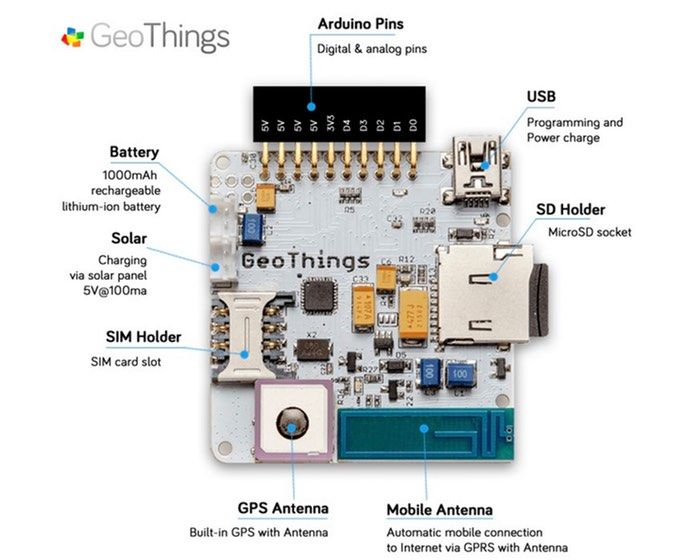GeoThings created a new handy Arduino compatible development board that provides both built-in GPS and mobile connectivity together with a few other f…