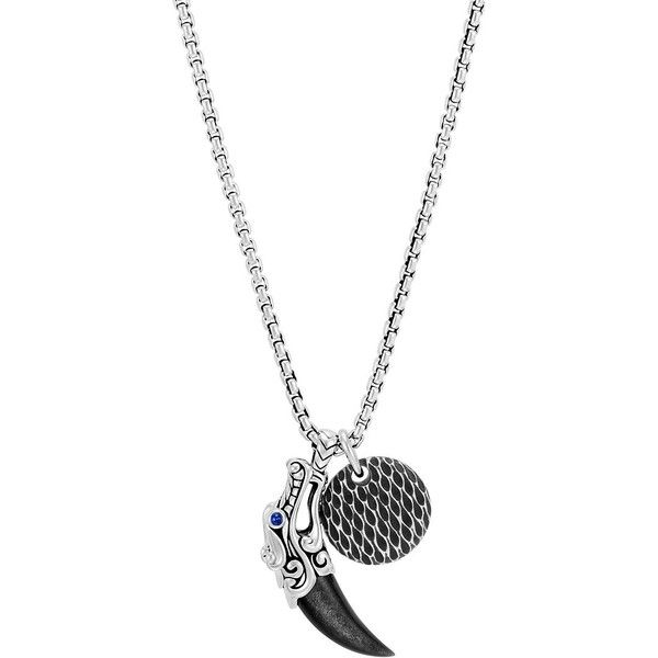 John Hardy Sterling Silver Leather Legends Pendant Necklace ($695) ❤ liked on Polyvore featuring men's fashion, men's jewelry, men's necklaces, mens leather necklace, mens pendants, mens necklace pendants, mens watches jewelry and mens pendant necklace