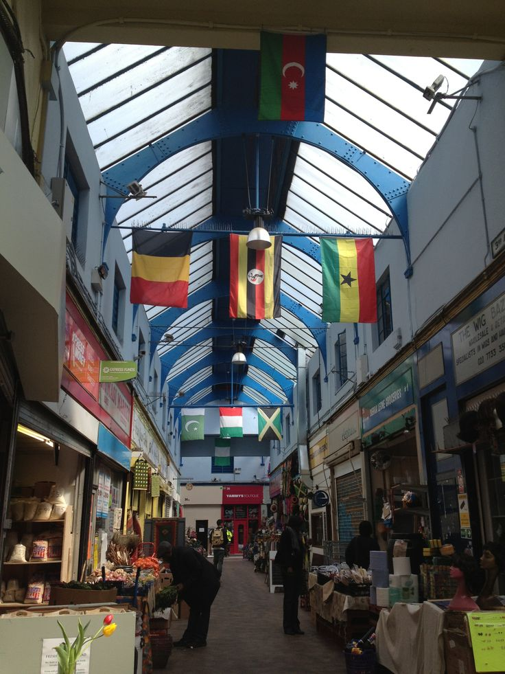 The different cultures here are shown as flags to decorate the market
